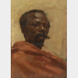 Attributed to Edwin Lord Weeks (American, 1849-1903)  Portrait Study of a Man in a Red Cape