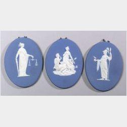 Three Enoch Wood Dark Blue Jasper Dip Oval Plaques