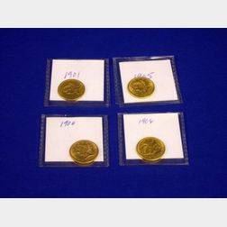 1901, 1905, and Two 1906 Liberty Head Half Eagle Five Dollar Gold Coins.