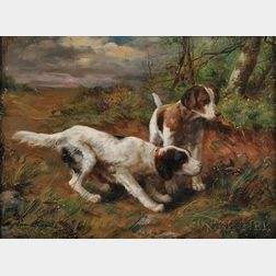Alfred Arthur Brunel de Neuville (French, 1851-1941)      Two Hunting Dogs