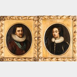 Manner of Michiel van Mierevelt (Dutch, 1567-1641)      Pair of Oval Pendant Portraits: Woman in a Fur-lined Jacket
