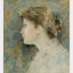 Clement Rollins Grant  (American, 1848-1893)      Portrait of a Young Woman in Profile