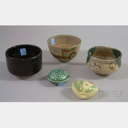 Three Asian Tea Ceremony Pottery Bowls and Two Covered Incense Burners.
