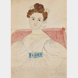 Attributed to Emily Eastman (Louden, New Hampshire, 1804- )      Portrait of a Woman in a White Gown with a Blue Floral Belt.