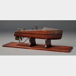 Mahogany and Brass Clockwork MISS AMERICA   Toy Speed Boat Model