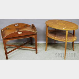 Chippendale-style Mahogany Butlers Tray Table and an Edwardian Oval Inlaid Mahogany Veneer Two-tier End Table.