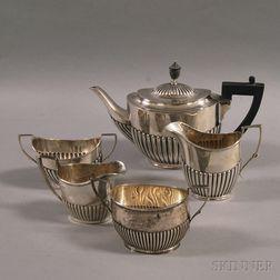 Five Assembled English Silver Tea Service Items