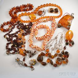 Group of Coral and Amber Jewelry