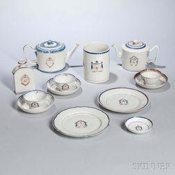 Thirteen Armorial Export Porcelain Table Items
