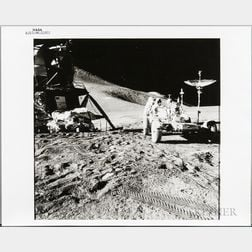 Apollo 15, Lunar Roving Vehicle and James Irwin at the Hadley-Apennine Landing Site, EVA-1, August 1971.