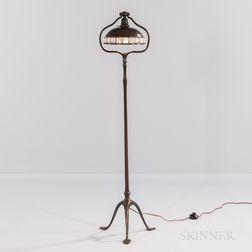 Tiffany Studios Bronze Floor Lamp with Jeweled Bronze Shade