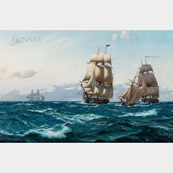 Derek George Montague Gardner (British, 1914-2007)      The First American Battle Squadron Crosses the Atlantic