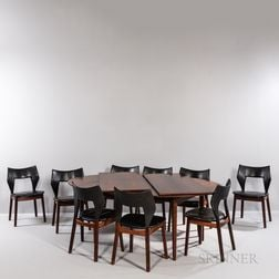 Nine Tove (1906-1935) and Edvard (1901-1982) Kindt-Larsen for Thorald Madsens Dining Chairs and a Dining Table attributed to Finn Juhl
