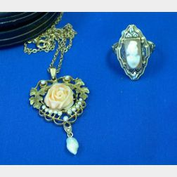 14kt Gold and Shell Cameo Ring and a Gold, Coral, and Seed Pearl Pendant.