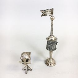 Two Figural Silver Spice Boxes
