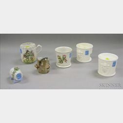 Six Assorted Late Victorian Glass and Porcelain Articles