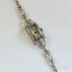 Lady's Glycine Platinum and Diamond Bracelet Wristwatch