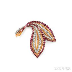 18kt Gold, Ruby, and Diamond Leaf Brooch, Van Cleef & Arpels