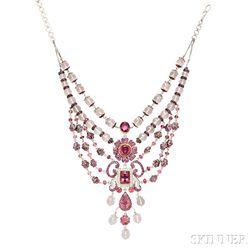 White Gold, Pink Tourmaline, Diamond, and Rose Quartz Necklace,