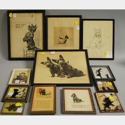 Fifteen Decorative Prints, Silhouettes, and Forty-one Vintage Advertising and   Magazine Covers Depicting Scottie Dogs