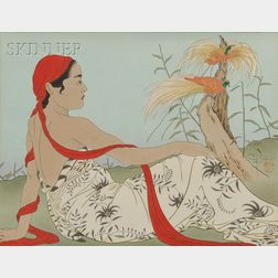 Paul Jacoulet (French, 1902-1960)      Two Genre Scenes: Les Paradisiers, Menado, Celebes