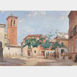 American School, 20th Century    Italian Village Square