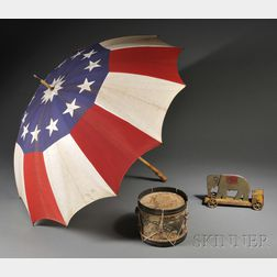 Patriotic Flag Umbrella, Child's Drum, and a Friction Elephant Push Toy