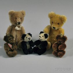 Six Small Vintage Mohair Articulated Schuco Teddy Bears