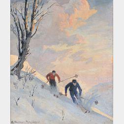 Albert Sheldon Pennoyer (American, 1888-1957)      A Close Brush   (Ski Scene #2)