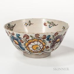 Polychrome Decorated Delft Punch Bowl