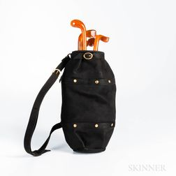 Black Suede and Bakelite Golf Bag Handbag