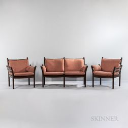 Ole Wanscher (1903-1985) for Poul Jeppesen Mobilfabrik Loveseat and Two Lounge Chairs
