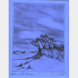 Framed Etching of Trees and Sand Dunes Attributed to Ernest W. Lawson