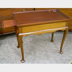 Bussolini Bros. Queen Anne Style Carved Mahogany Tray-top Tea Table