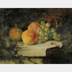 Frederick Trapp Friis (American, 1865-1909)      Still Life with Grapes and Peaches