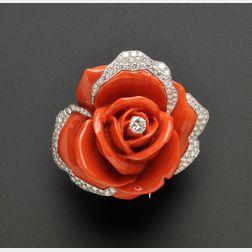 Platinum, Diamond and Coral Flower Clip/Brooch, Cartier Paris