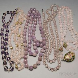 Five Amethyst and Rose Quartz Beaded Necklaces
