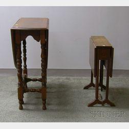 William & Mary Style Walnut Drop-leaf Gate-leg Table and an Edwardian Inlaid   Mahogany Drop-leaf Tuck-away Table
