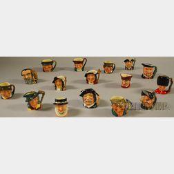 Sixteen Assorted Small Royal Doulton Ceramic Character Jugs