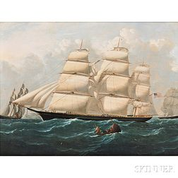 After Stephen Dadd Skillet (English, 1817-1866)       Clipper Ship Hurricane   in the English Channel.