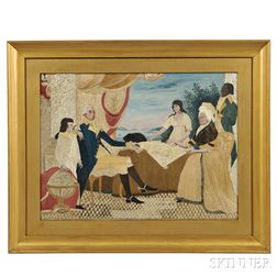 Needlework and Watercolor Picture of George Washington and His Family