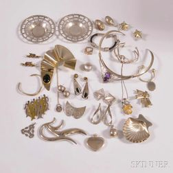 Group of Sterling Silver Modernist Jewelry and Accessories