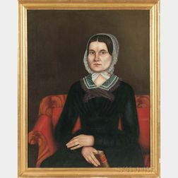 American School/Probably New York State, 19th Century      Portrait of a Woman Seated on a Mahogany Veneer Empire Sofa