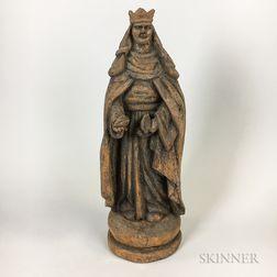 Carved Wood Figure of St. Elizabeth