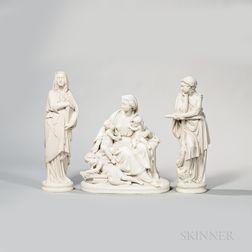 Three Wedgwood Carrara Figures Depicting Faith, Hope, and Charity