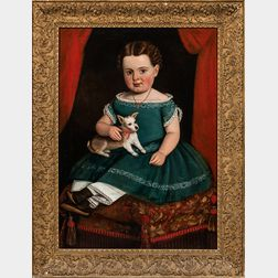 Prior-Hamblin School, Mid-19th Century      Portrait of a Girl in a Green Dress Holding a Puppy