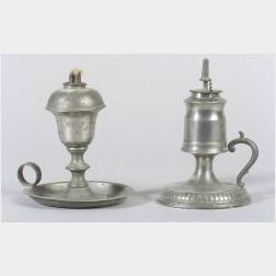 Two Pewter Hand Lamps