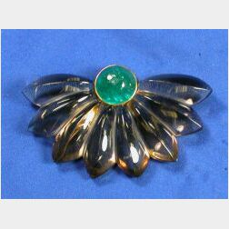 Art Moderne Emerald and Smoked Rock Crystal Dress Clip