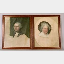 After Gilbert Stuart (American, 1755-1828) Athenaeum Portraits of George and Martha Washington.