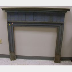 Blue-painted Wooden Mantel